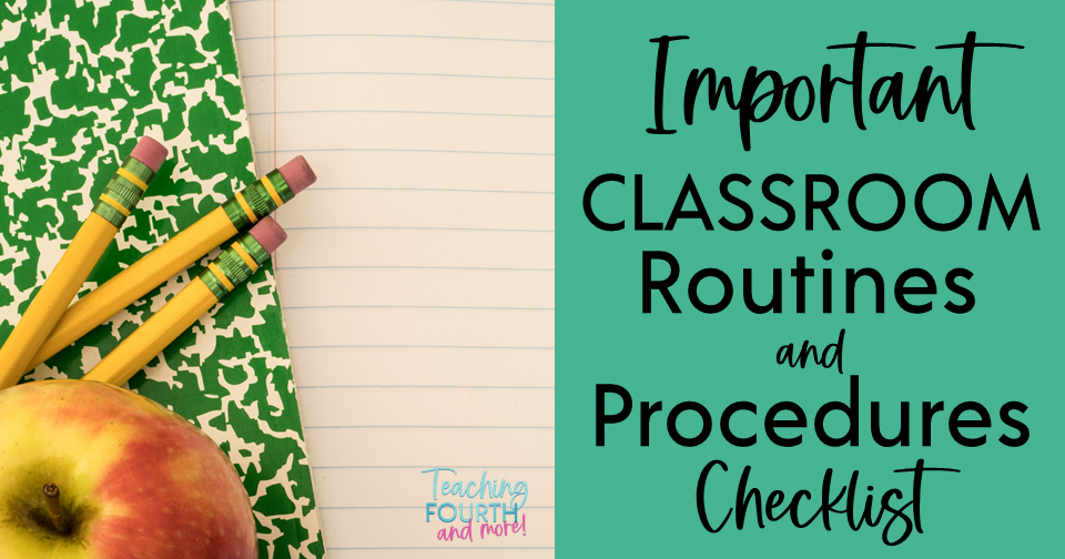 Classroom Routines and Procedures Checklist