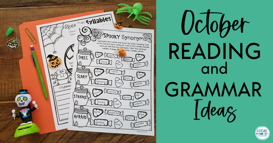 October classroom activities for reading and grammar