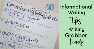 informational writing leads anchor chart and tips